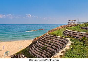 Stone terrace on promenade in Ashqelon, Israel.
