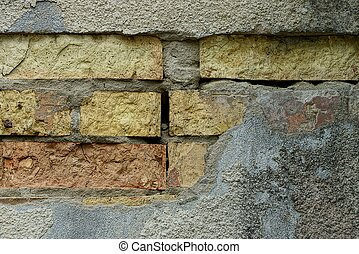 stone texture of concrete and bricks on the old wall