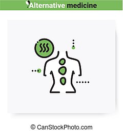 Stone therapy line icon. Reflexology. Traditional chinese medicine. Massage. Health care and wellness. Complementary and alternative medicine types. Isolated vector illustration. Editable stroke