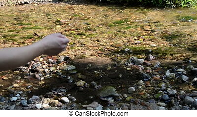 stone throw stream water