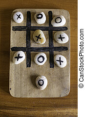 stone-Tic-tac-toe Wooden Board Game with clipping path