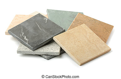 Stone tiles samples isolated on white