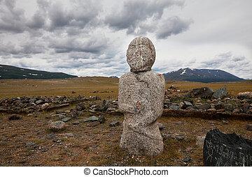 Stone tomb - stone statue in Mongolia