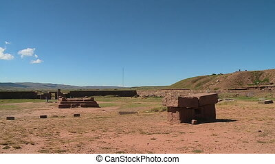 Stone Tombs At Tiwanaku Ruins, La Paz, Bolivia - Wide still...