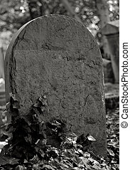 stone tombstone in black and white - blank stone tombstone...