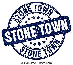 Stone Town blue grunge round vintage rubber stamp