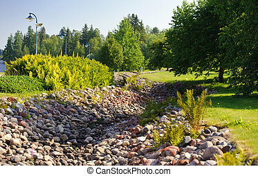 Stone trench in the park