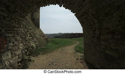 Stone tunnel ancient castle