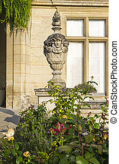 Stone vase in old french castle.