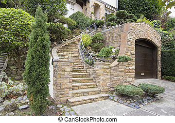 Stone Veneer Faccade on Home Exterior with Manicured Front Entrance Yard Landscape