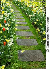 Stone walk way winding in garden