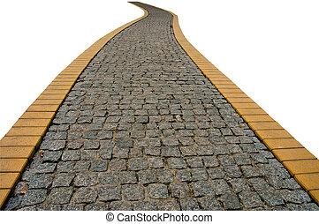 Stone walkway in garden, isolated . - Stone walkway in ...