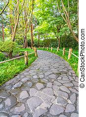 Stone walkway in Japanese Tea Garden, San Francisco.