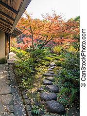Stone walkway in traditional Japanese garden