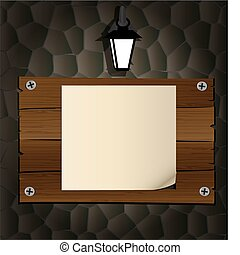 on the dark stone wall of a wooden board, a blank sheet of paper, lit a lantern on top