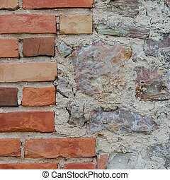 Stone wall background closeup, vertical plastered grunge red brick stonewall, beige limestone pattern, old aged weathered beige lime plaster texture, natural grungy textured reddish vintage rough rustic bricks birckwork