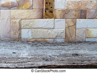 Stone wall background with wood floor