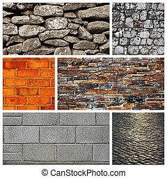 Stone wall, brick wall and a paveme