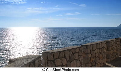 Stone wall by the sea
