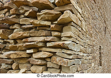 Stone wall, Chaco Canyon