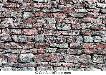 Stone wall closeup, horizontal stonewall pattern background, old aged weathered red and grey grunge limestone dolomite calcium carbonate hard sedimentary slate slab rock texture, natural grungy textured bricks, beige, yellow, reddish, gray brick vintage