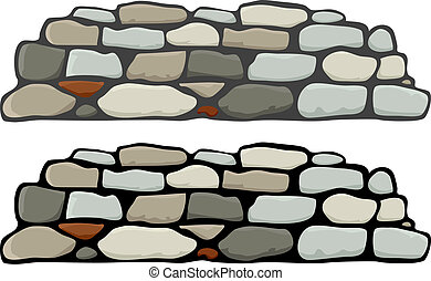 Stone Wall I - A stone wall with black and gray mortar...