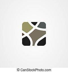 Stone wall icon logo vector design