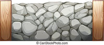 Stone wall - Illustration of a stone wall on a white...