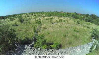 Stone wall in Dalmatian hinterland, aerial shot - Copter...