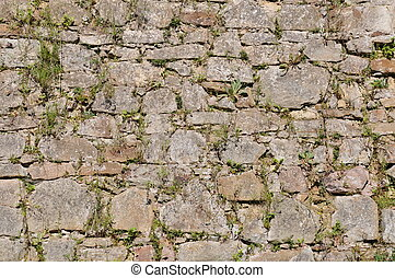 Stone wall in the garden