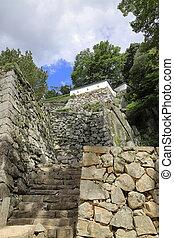 stone wall of Bitchu Matsuyama castle in Okayama, Japan