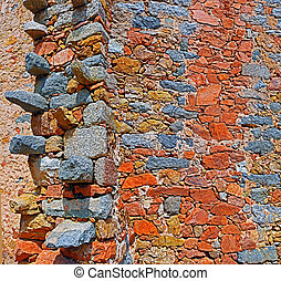 Stone Wall of Greek church in Corsican village Cargese