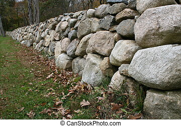 Stone Wall - A Rural Stone Wall Stretches into the Distance
