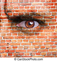 Stone wall -  face covered with brick wall pattern