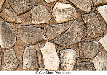 Stone wall texture, background with copy space