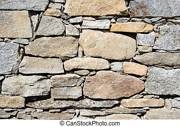 stone wall texture - A wall of a rural mountain house made...