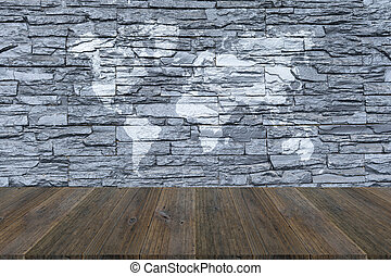 Stone wall texture with wood terrace with world map stone stock stone wall texture with wood terrace with world map gumiabroncs Gallery