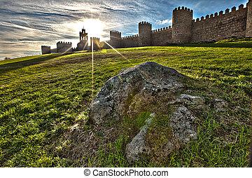 Stone Wall Turrets in Avila, Spain