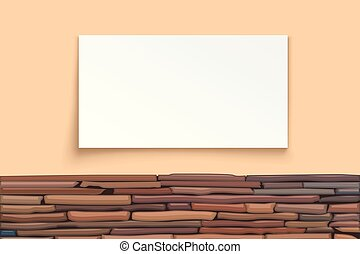 stone wall with paper board