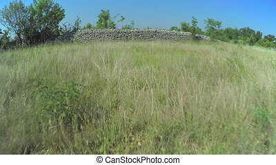 Stone walls in Dalmatian hinterland, aerial shot - Copter...