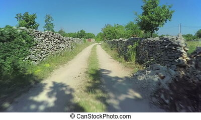 Stone walls in Dalmatian hinterland, aerial shot - Copter...