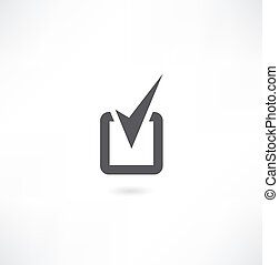 Stone web 2.0 button check mark sign. White rounded square shape icon with black shadow and gray reflection on white background. This vector illustration created and saved in 8 eps