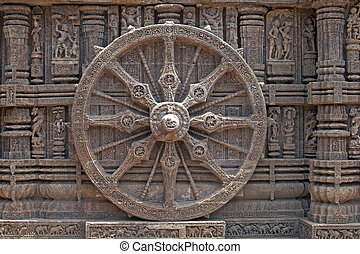 Ornately carved stone wheel on the ancient Surya Hindu Temple at Konark, Orissa, India. 13th Century AD