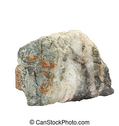 stone white single granite boulder large river isolated big rock block geology nature garden clipping path