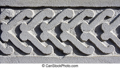Stone work - close up of stone carving surround