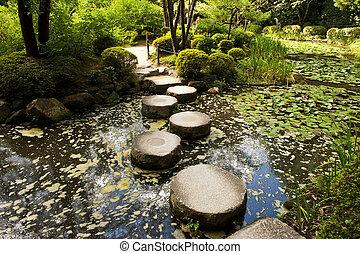 Stone zen path - Zen stone path in a Japanese Garden near...