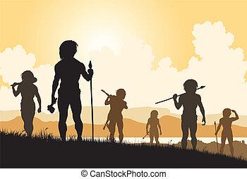 Stoneage hunters - Editable vector silhouettes of cavemen...
