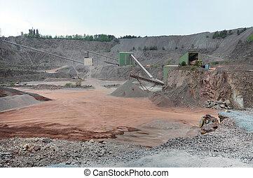 stonecrusher, 在, a, 采石場, mine., 採礦, industry.