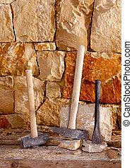 stonecutter, albañilería, trabajo, martillo, herramientas