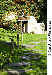 Stoned path in japanese garden